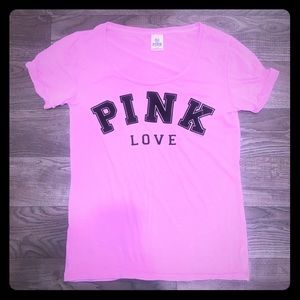 Victoria Secret VS Pink Logo Tee Pink & Black